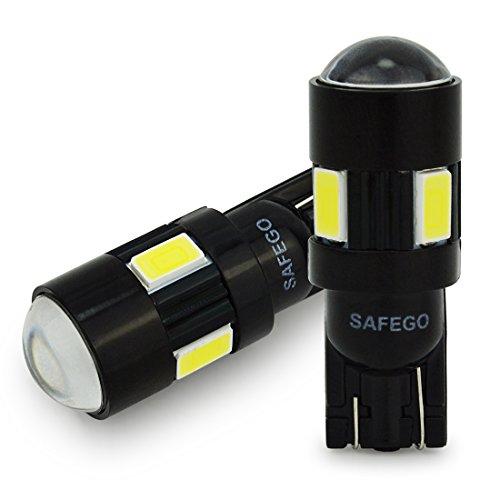 Safego 2 x LAMPADINE T10 W5W LED bianche 194 168 cuneo Tipo 6 SMD 5630 bianco LED luci dell'automobile Bulb 12V diretto Replacment e Reverse Auto RV per Interni Segnale Segnale cuneo Tipo