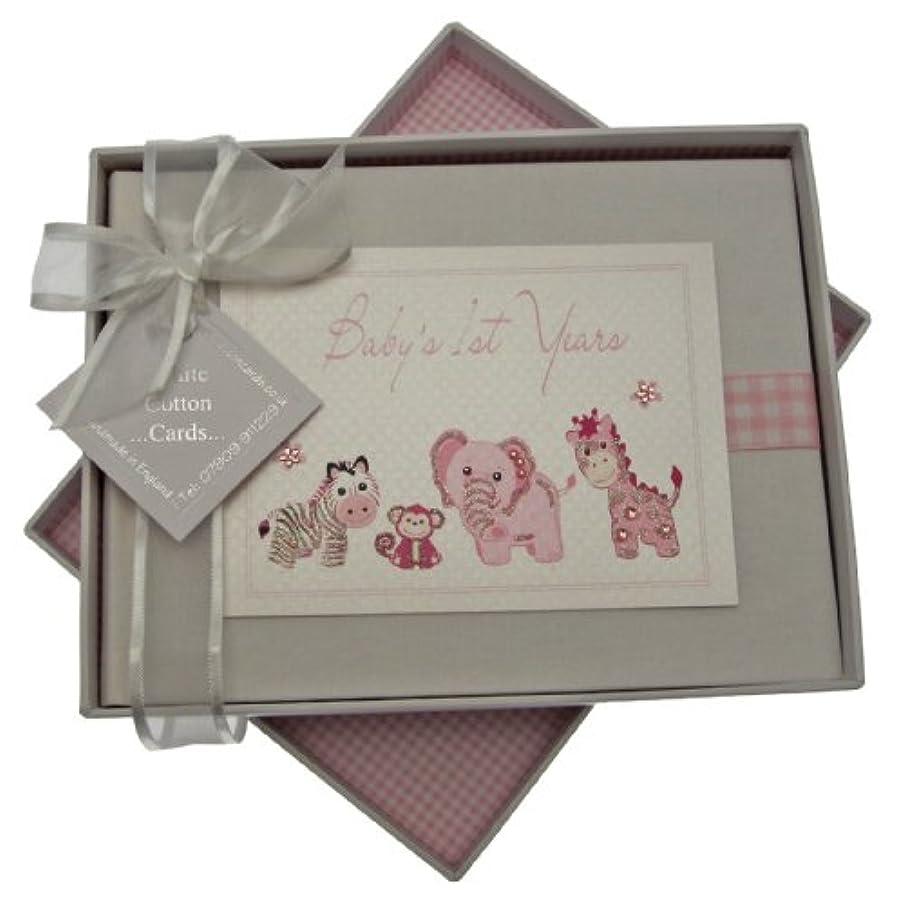 White Cotton Cards Handmade Baby's 1st Years Small Photo Album (Pink Gingham)