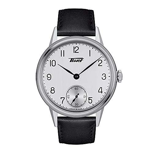 Tissot Men's Heritage 316L Stainless Steel case Swiss Mechanical Watch with Leather Strap, Black, 20 (Model: T1194051603700)