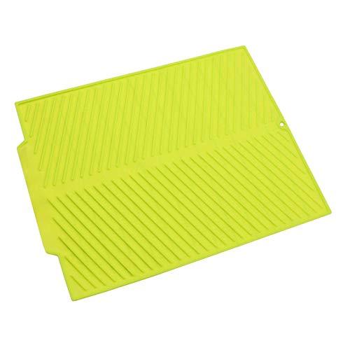 Tubayia Alfombrilla de silicona para secar platos, resistente al calor, antideslizante, color verde
