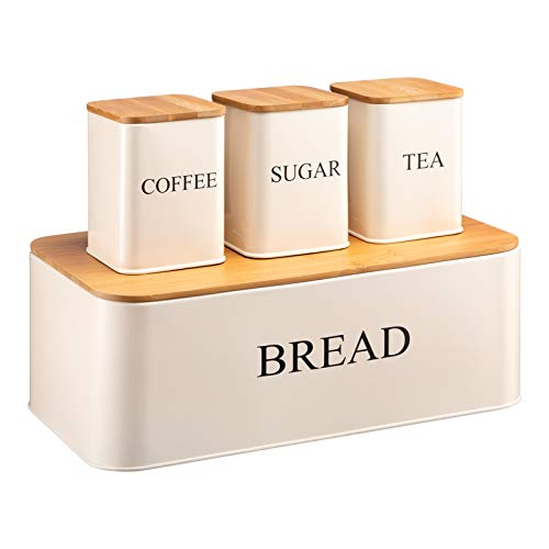 PARANTA Large-Capacity Bread Box and 3-Piece Canister Set,Iron Storage Container, Used For Kitchen Or Table Storage, Store Pastries, Coffee, Biscuits & More, White