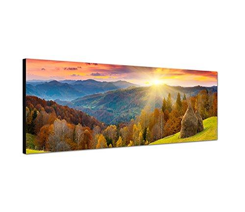 Augenblicke Wandbilder Leinwandbild als Panorama in 150x50cm Herbstlandschaft Wald Wiese Sonnenuntergang