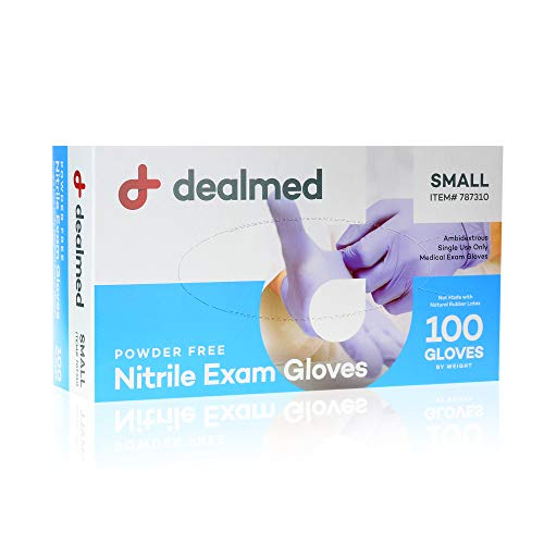 Dealmed Nitrile Medical Grade Exam Gloves, Disposable Latex Free, Small, 100 ct. (Pack of 1)