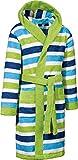 Erwin Müller Kinder-Bademantel mit Kapuze Frottier grün gestreift Größe 146/152 - saugstark, hautfreundlich, mit Taschen und Bindegürtel, Streifen (weitere Größen)