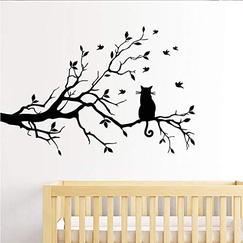 kldfig leuke kat op een tak Vogels muursticker vinyl kunst sticker venster sticker sjabloon voor kinderkamer decoratie zwart kleur 38x58cm