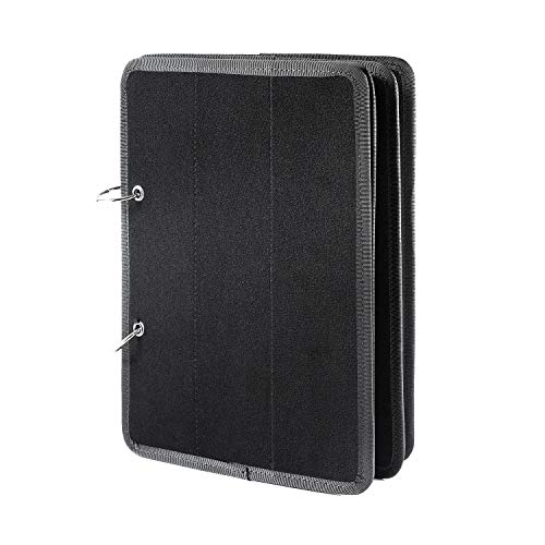 OneTigris Flip-Page Patch Book 11' x 8' with Romovable Metal Ring Binders (Black)