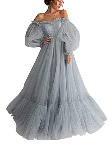Puffy Sleeve Ball Gowns Off Shoulder Sweetheart Tulle Prom Quinceanera Dresses for Women Formal Evening Grey 2