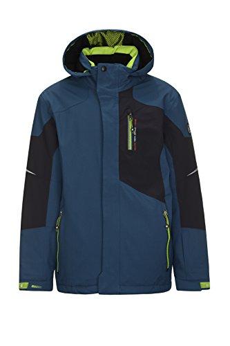 killtec Skijacke Jungen Zado Jr - Winterjacke Kinder mit Kapuze und Schneefang - Snowboardjacke Jungen sportlich mit Skipasstasche - wasserdicht & winddicht, dunkelblau, 164
