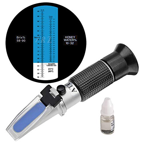 TRZ Refractometer Honey 10-32% Water Honey 58-90% Brix Sugar Baume for Beekeeping, Honey, Condensed Milk, Sugar Syrup, Fruit jam, Hamh Optics&Tools