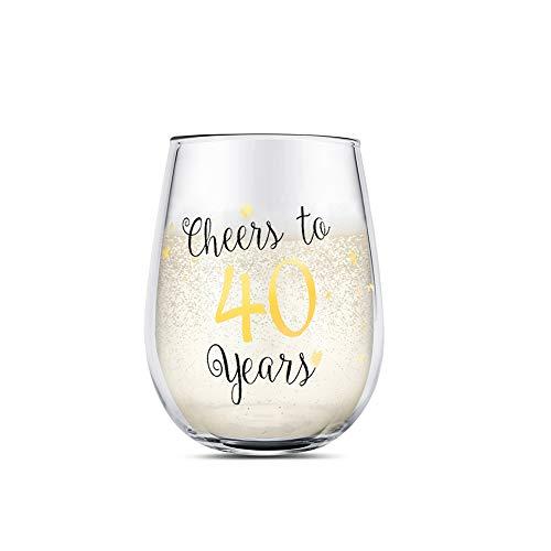 40 cumpleaños divertido Copas de vino sin tallo de oro Regalos para mujeres hombres Regalos para el mejor amigo Fiesta Boda Aniversario Decoraciones de fiesta