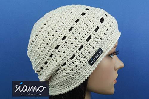 Sommer-Mütze VERONA vanille Sommer-Beanie von siamo-handmade Baumwolle-Mix