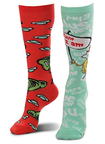 Dr. Seuss Green Eggs and Ham Mismatched Knee High Costume Socks for adults and teens