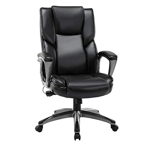 Office Chair Ergonomic High Back Computer Desk Chair, PU Leather Adjustable Height Modern Executive Swivel Task Chair with Padded Armrests and Lumbar Support