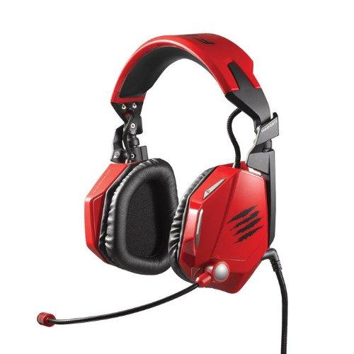 Mad Catz F.R.E.Q. 7 - Auriculares Gaming de Diadema Cerrados (con micrófono, Control Remoto Integrado), Color Rojo