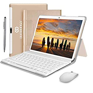 4G Tablets 10.1 Pulgadas, 4GB RAM+ 64GB ROM 2 in 1 Tablet con Teclado Android 9.0 Tablet PC con Quad-Core 8MP 8000mAh Moviles Buenos o Tablets Puede Llamar Apoyo Dual SIM WiFi/Bluetooth/OTG (Oro)
