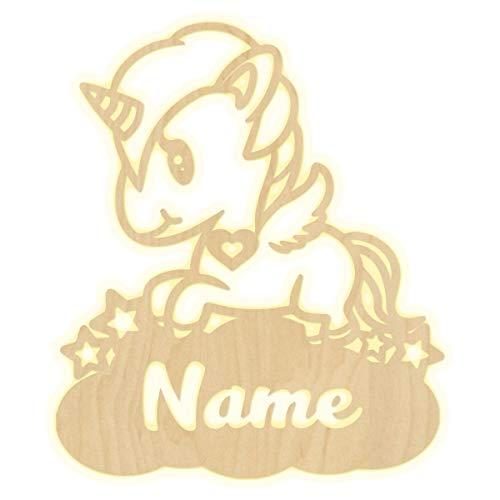 Madyes wandlamp, eenhoorn, wolk, hart, kinderkamer, gepersonaliseerde lamp met naam en nachtlampje, led-wandlamp, decoratie, hout, jongens, meisjes, babycadeauset, sluimerlicht