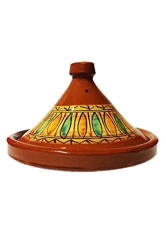 Marokkanische Tajine Topf zum Kochen | Schmortopf glasiert Gulnar Ø35cm 6-8 Personen | inklusive Rezept und Gebrauchsanweisung | ORIGINAL Tontopf handgetöpfert aus Marokko | Größe wählen