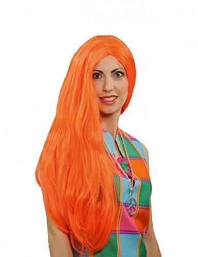 Perruque hippie longue orange. - unique