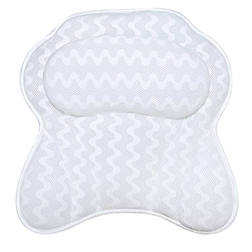 VANZAVANZU Bath Pillow, Bathroom Bathtub Spa Pillow Features Washable Luxurious 3D Breathable Air Mesh Technology Ergonomic With 6 Premium Suction Cups Support Head, Neck, Shoulder, Back (White)