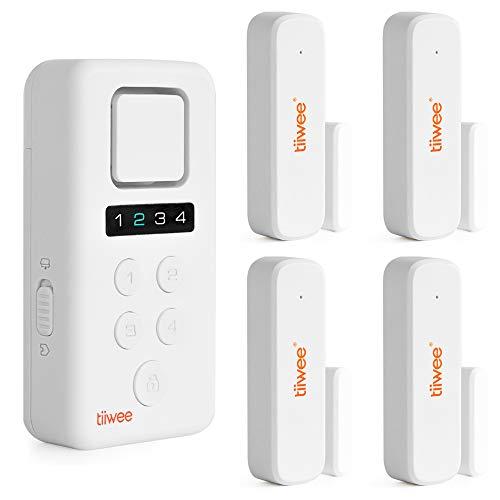 tiiwee X3-XL Sistema di Allarme Casa Senza Fili - Sistema Antifurto Completo con Sirena Allarme 120 dB X3, 4 Sensori per Finestre e Porte - Protetto da Codice PIN a 4 Cifre - Installazione Facile