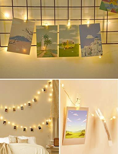 Led Lichterkette,Cshare 2M 20LEDs LED Fotoclips Lichterkettemit 20 Stücke Klammern für Fotos für Zimmer Deko und Fotos Lichterkette Wand,Geburtstag Party Weihnachten,Warmweiß