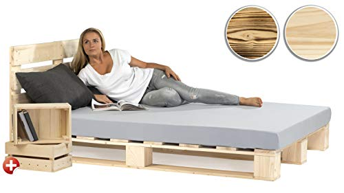 sunnypillow Palettenbett mit Kopfteil 140 x 200 cm Holzbett Bett aus Paletten Palettenmöbel Naturholz Fichte + 2 Holzkisten gratis
