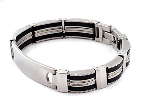 Personalizado Pulseras de cadena de cadenas de acero inoxidable de los hombres y brazalete de la pulsera de la muñequera de los hombres de los hombres Pulsera negra de silicona negra para los hombres