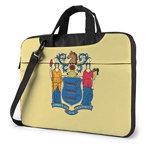 Laptop Shoulder Bag,New Jersey NJ State Flags Shockproof Laptop Sleeve Cover Business Messenger Bag Briefcase Handbag Case 15.6 inch