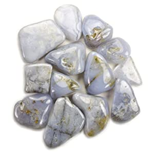Hypnotic Gems Materials: 1lb Bulk Tumbled Blue Chalcedony Stones from Africa - Natural Polished Gemstone Supplies for Wicca, Reiki, and Energy Crystal HealingWholesale Lot