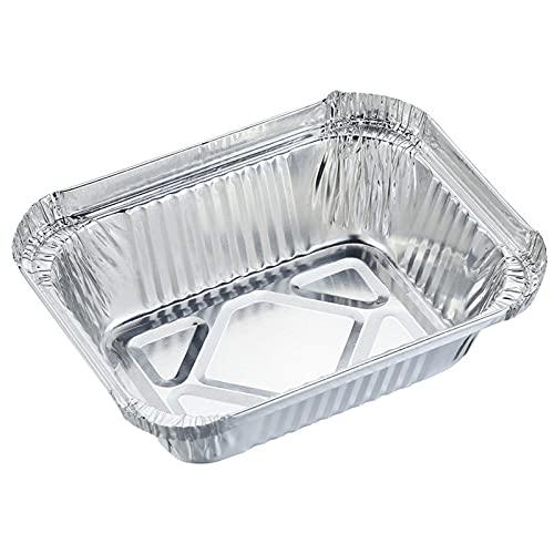 SCHSP Bandejas de Aluminio Desechables Parrilla al Aire Libre de Bandejas Recipientes Portátiles para Alimentos 125 Piezas 650ml Hornear Asar Parrilla y Cocinar