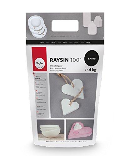 Rayher 34409102 Raysin 100 Gießpulver, 4kg, Gießmasse weiß, Reliefgießpulver, lufthärtend und geruchslos