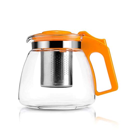 Teapots Heat-resistant Glass Teapot Filter Tea Red Tea Kettle Tea Pot Teapot Office Bubble Tea 900ml (Color : Orange)