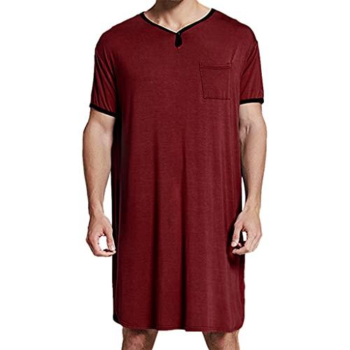 KKXY Robes Pijamas Largos para Hombres, Cuello en V de Manga Corta para Hombres, Ropa de hogar para Primavera y otoño, Pijamas para Hombres Suaves y cómodos(Size:XXX-Large,Color:Vino Tinto)