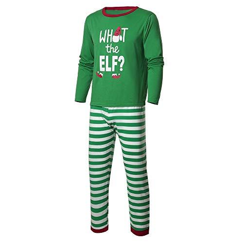 LILIHOT Weihnachten Pyjama Familien Set Mama Papa Ich Kinder Jungen Mädchen Gestreiften Nachtwäsche Brief Familie Pyjamas Outfit Schlafanzug Family Xmas Zuhause Kleidung