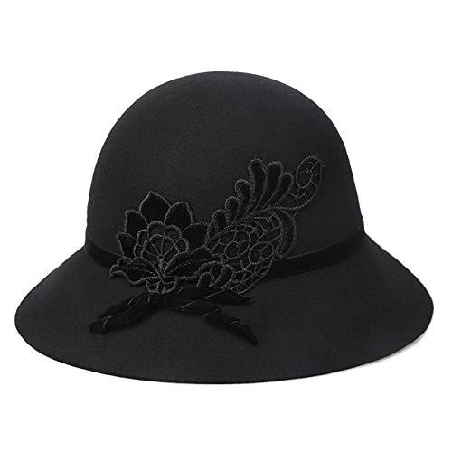 kyprx Buchstabe gestickter Hut gesticktes Kleid großer Hut lässig Wilde Hut Mütze warme Wolle weiblich schwarz