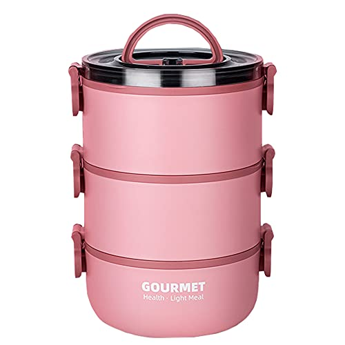 Bento Lunch Box per Adulti e Bambini,Lunch box impilabile acciaio inox 2 Strati,Lunch box termico Thermal (Rosa, 3-Tier)
