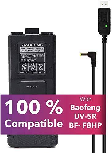 Mirkit Baofeng accessories set: Baofeng Battery BL-5L 3800mah with Baofeng USB charging cable Compatible with Baofeng UV- 5R MK2 MK3 MK4 MK5 BF-8HP UV-5RX3 RD-5R UV-5RTP UV-5R+, UV-5X3 by Mirkit Radio