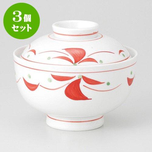3個セット赤絵つなぎ 円菓子碗 [ 12.2 x 10cm 430g ] 【 蓋物 】 【 料亭 旅館 和食器 飲食店 業務用 】