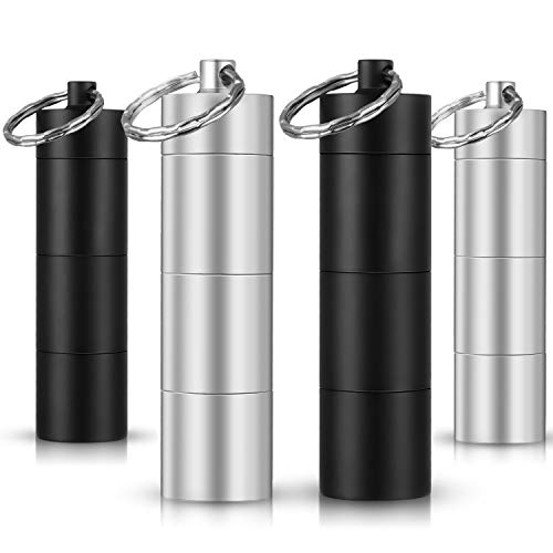 4 Pieces Portable Pill Container Boxes Aluminum Waterproof Metal Pill Holders with Keychain for Outdoor Travel Camping