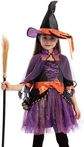 Spooktacular Creations Witch Costume for Girl Halloween Orange and Purple for Cosplay (Toddler( 3- 4yrs ))