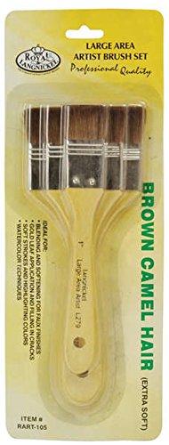 Royal & Langnickel Large Area Artist Brush Set- Three Brown Camel Hair Brushes