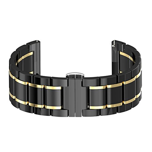 Gear S3 Armband Keramik Schwarz/Gold,Samsung Gear S3 Uhrenarmband,Watch Ersatz Band für Samsung Gear S3 Sport Frontier Classic Smart Watch,S3 Sport Strap Uhr Ersatzarmband Schwarz/Gold