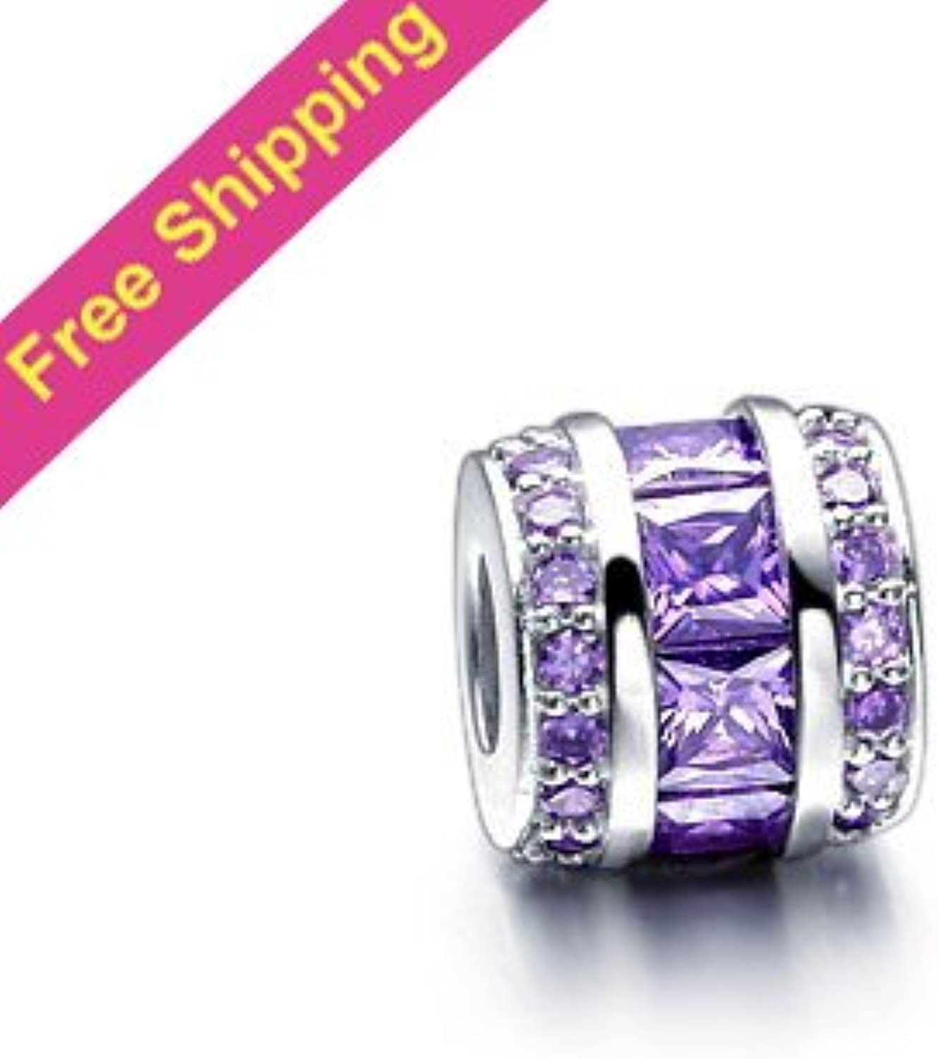 KDESIGN 925 Silver Drum Slide Charm Beads with Purple Crystal DIY Beads Fit European Thread Charm Bracelet XS056A