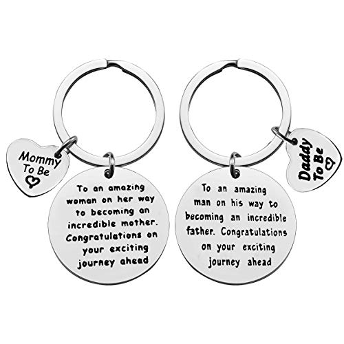 Mom to Be Gift Daddy to Be Keychain Pregnancy Announcement Gift To An...