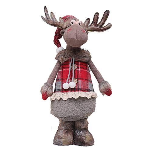 lingzhuo-shop Kerstdecoratiepop, eland-kerstmasker raamdecoratie figuren voor Kerstmis open haard decoratie Expedient Grijs staand