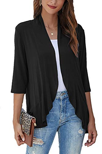 Bluetime Women Cardigan Sweaters Drape Open Front Lightweight 3/4 Sleeve Cardigans Dusters (XXXL, Black)