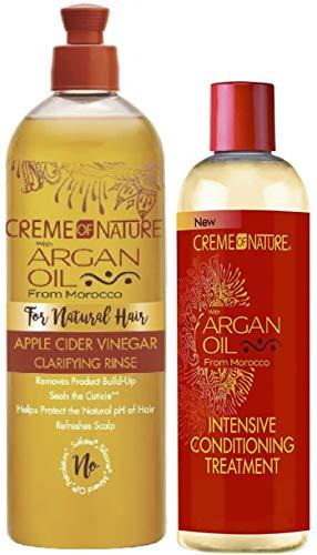 Crema de naturaleza con aceite de argán y vinagre de sidra de manzana aclarante y tratamiento acondicionador intensivo (juego de 2)