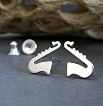 Saxophone horn music stud earrings polished sterling silver post jewelry. Handmade in the USA.