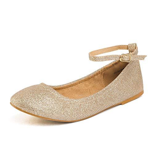 DREAM PAIRS Women's Sole-Fina-Straps Gold Glitter Ankle Straps Ballet Flats Shoes - 5 B(M) US
