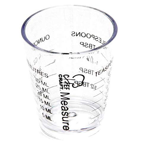 Chef Craft Classic Plastic Shot Glass Measurer, 1 ounce teaspoon/tablespoon, Clear